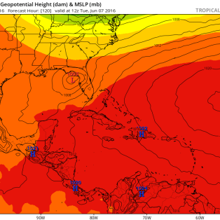 ECMWF forecast for Tuesday morning June 7. Image provided by Tropical Tidbits.