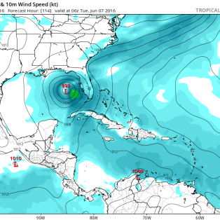 GFS forecast for Tuesday morning June 7. Image provided by Tropical Tidbits.