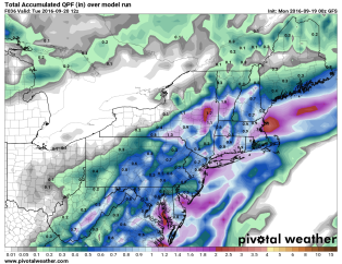 GFS Model forecast for rainfall through Tuesday morning. Image provided by Pivotal Weather.