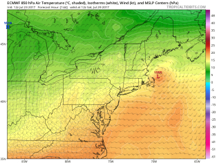 The ECMWF model brings low pressure right across New England Friday into Saturday, with another round of suck-tastic weather across the area. Image provided by Tropical Tidbits.
