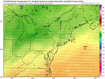 The GFS model keeps low pressure well south of New England Friday into Saturday, with some fair weather across the area. Image provided by Tropical Tidbits.
