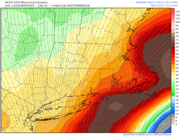 GFS 50-STATES USA Mass & CT & RI 10-m Wind Gust 36