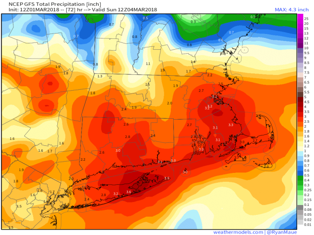 GFS 50-STATES USA Mass & CT & RI Total Precipitation 72