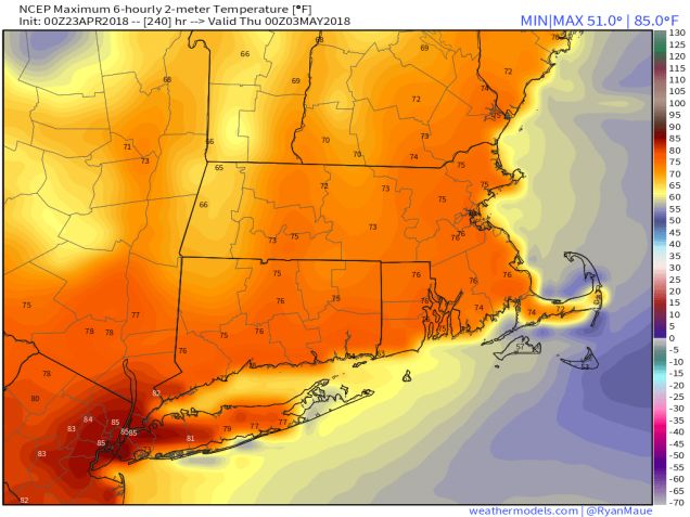 GFS 50-STATES USA Mass & CT & RI 2-m Maximum Temperature 240