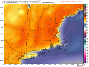 Will Sunday be warm like the GFS is forecasting? Image provided by WeatherBell,