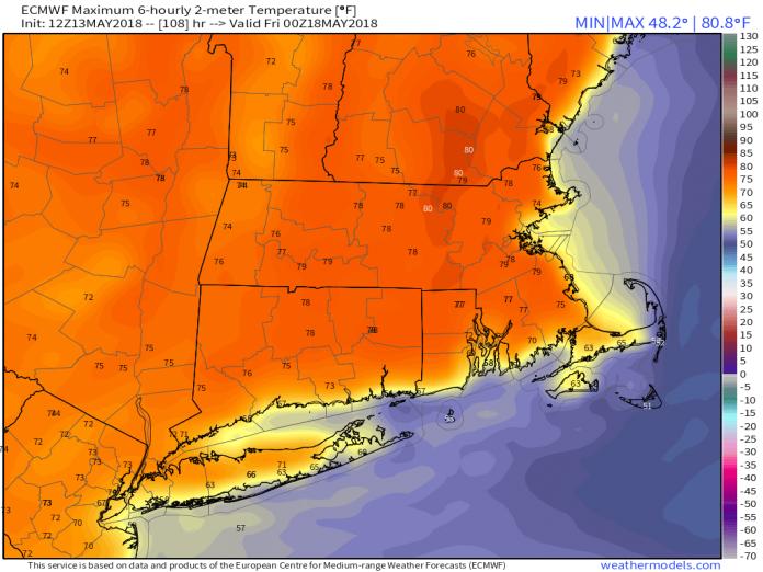9-km ECMWF USA Cities Mass & CT & RI 2-m Maximum Temperature 108