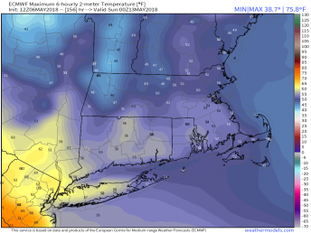 Saturday could be chilly if the ECMWF is correct. Image provided by WeatherModels.com