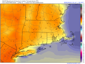 Saturday could be mild if the GFS is correct. Image provided by WeatherModels.com