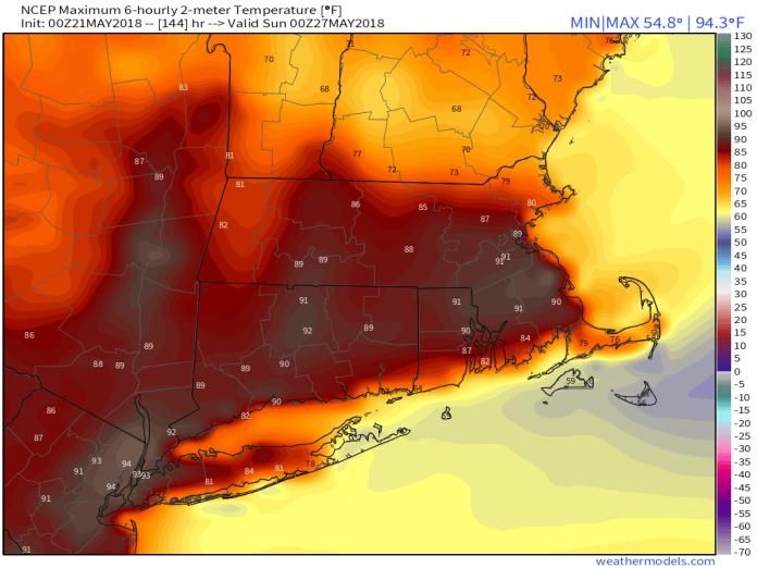 GFS 50-STATES USA Mass & CT & RI 2-m Maximum Temperature 144 (2)