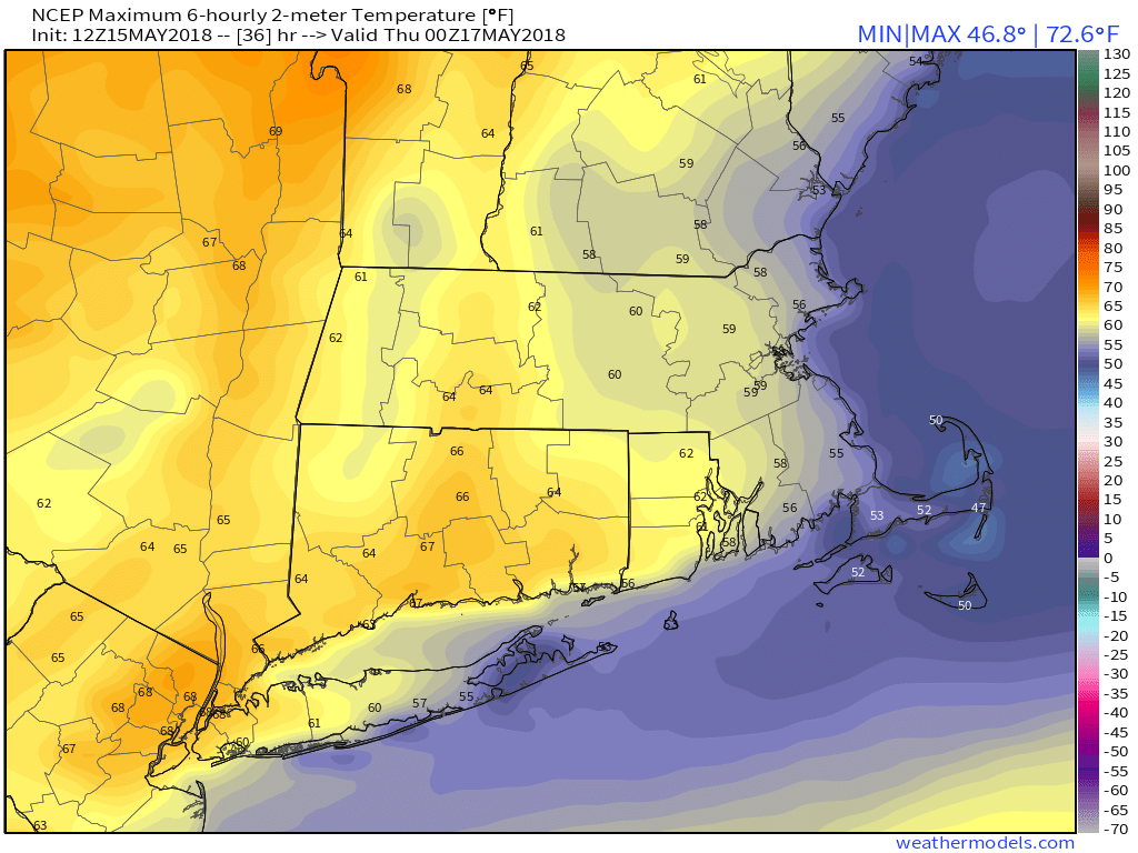 GFS 50-STATES USA Mass & CT & RI 2-m Maximum Temperature 36