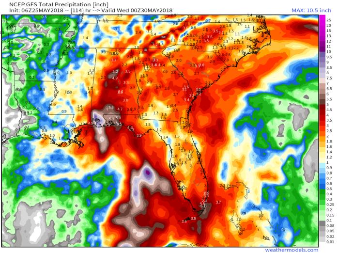 GFS 50-STATES USA Southeast US Total Precipitation 114