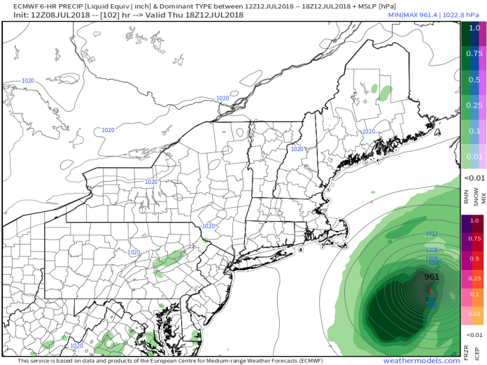 9-km ECMWF USA Cities New England Precip Type & MSLP 102