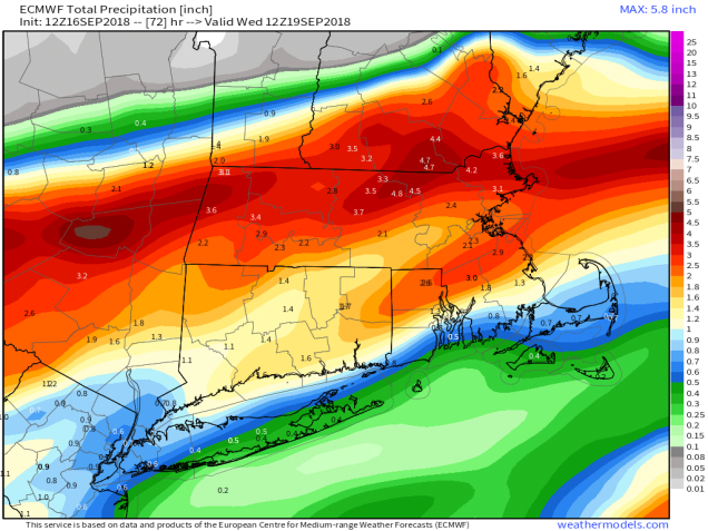 9-km ECMWF USA Cities Mass & CT & RI Total Precipitation 72