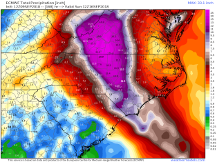 The ECMWF is forecasting as much as 15-30 inches of rain, centered in inland North Carolina southwestern Virginia. Image provided by Weathermodels.com