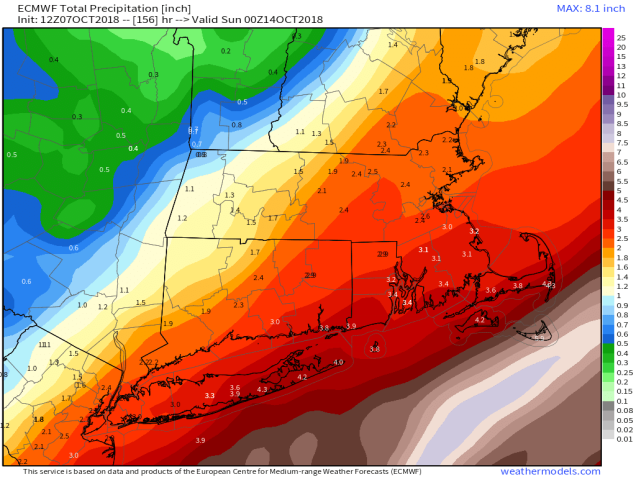 9-km ECMWF USA Cities Mass & CT & RI Total Precipitation 156